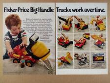 1978 Fisher-Price Big-Handle Trucks cement mixer crane roller vintage print Ad