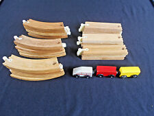Vintage Wood Whistlin' Dixie Railroad Tracks 15 Curved & 9 Straight & 3 cars