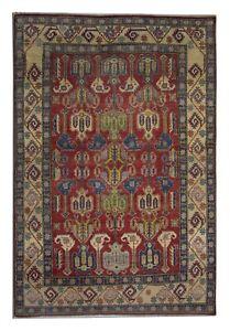Red Carpet Geometric Rug Handwoven Oriental Wool Area Rug- 182x265cm