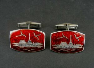 Siam Cufflinks Sterling Vintage Silver Red Rare Color Temple Birds Cufflinks