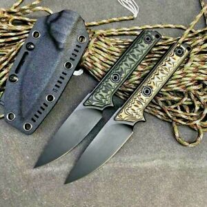 Drop Point Knife Hunting Combat Tactical Military A2 Steel G10 Fibers Handle Cut