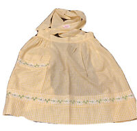 Vtg Carmen Lee Half Apron Yellow White Gingham With Flower Trim One Pocket MCM