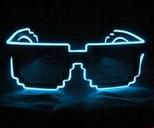 8-Bit Pixel Neon Blue LED Sunglasses Rave Burning man Party Deal with it gangsta