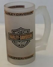 """Harley Davidson frosted beer glass 5.5""""H Duo Glide (1958) cycle depicted"""