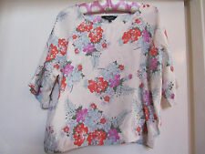 Cream & Multicoloured Floral New Look Top in Size 18 - Slight Crop