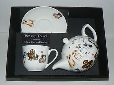 Dogs 2 cup teapot,cup and saucer gift boxed. China cup,saucer, porcelain teapot