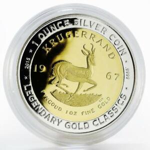 Benin 1000 francs Legendary Gold Classics Krugerrand gilded silver coin 2015