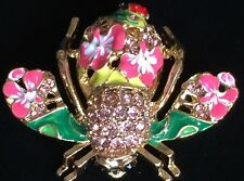 JOAN RIVERS PINK GREEN FLOWER LADYBUG BUMBLE BEE INSECT BUG PIN BROOCH JEWELRY