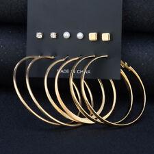 Women Big Circle Hoop Round Earrings Rhinestone Square Ear Stud Set Gold, Silver
