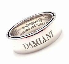 New! Authentic Damiani Brad Pitt 18k White Gold 10 Diamond Wide Band Ring Sz 7.5