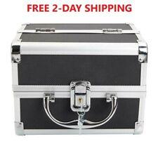 "Aluminum Makeup Organizer Bag Lock Key Miror Black 2 Trays 10''x8""x7"" 2-Day Ship"