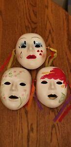 Lot of 3 Vintage Hand Painted Ceramic Porcelain Face Masks Mardi Gras