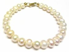 White Freshwater Pearl Bracelet, 9ct Gold Clasp, 7.5 inch, Classic Bracelet