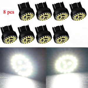 8pc T20 7443 W21/5W 4014 19SMD White LED Car Reversing Brake Lamp Turn Light 12V