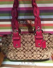Coach Khaki & Raspberry Braided Handle Bag 11863