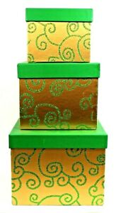 Holiday Christmas Green & Gold Tower Glitter Swirls Stacking Nesting Gift Boxes