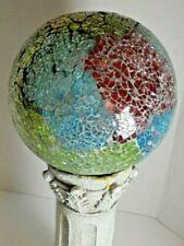 Mosaic red blue green crystalized Garden Gazing Ball Globe on pedestal stand