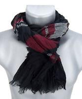 Ella Jonte Men's Scarf Black Bordeaux Red Striped Men's Scarf Herrentuch