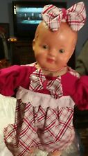 Antique 16-Inch Composition And Cloth Mama Doll In Red And Plaid Dress 9