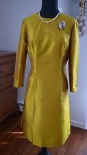STUNNING! Vtg 50s 60s Gold Raw Silk Pin-Up Wiggle Sheath Cocktail Party Dress! M