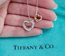 Tiffany & Co Elsa Peretti 18K Rose Gold Sterling Silver Open Hearts Necklace
