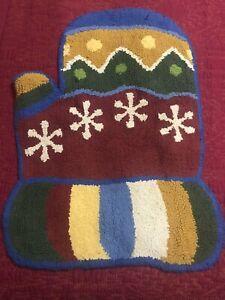 """Christmas Holiday Mitten Shaped Floor Mat About 30"""" x 20"""" Red White Blue Yellow"""