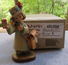 Vintage Anri Hand Carved Wooden Figurine Love Letter Girl Holding Mail With Box