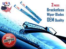 24 Amp 21 Inch Pair Bracketless Windshield Wiper Blades J Hook Oem Quality
