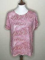 Chico's Size 1 Pink Stripe Geometric Short Sleeve Women's Top Shirt