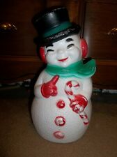"""Vintage 12"""" Blow Mold Snowman Christmas Holiday"""