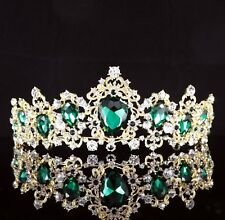 Exquisite Green Crystal Rhinestone Tiara Crown Prom Pageant Bridal Wed Gold T84