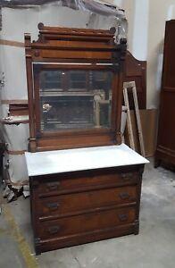 Antique American Victorian Eastlake Walnut Marble Top Dresser With Mirror