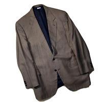Brioni Italy Augusto Sport Coat Jacket 44L Carmel & Black Micro Houndstooth