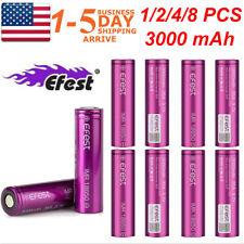 2/4/8PCS IMR18650 3000mAh High Drain Flat Top Rechargeable Battery