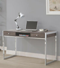 NEW ATHENS WEATHERED GRAY FINISH WOOD CHROME FINISH METAL HOME OFFICE DESK