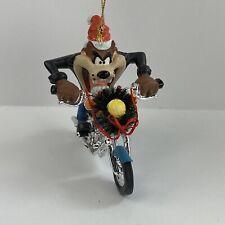 Taz Motorcycle Christmas Tree Ornament Looney Tunes Wreath Santa Hat with Box