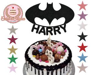 Batman Logo Black Glitter Cake Topper Decoration, Full Personalised