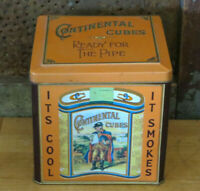 Vintage Continental Cubes Tobacco Tin Square Can Hinged Lid Case Manufacturing