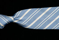 BROOKS BROTHERS Tie, Pearl White Stripes on Powder Blue Silk Twill USA