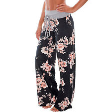 LADIES FLORAL PRINT PLAIN PALAZZO TROUSERS WIDE LEG PANTS SUMMER PLUS SIZE
