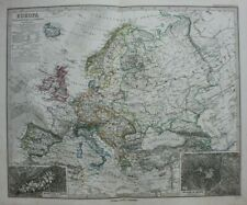 Original antique map EUROPE, 'EUROPA', MONT BLANC, MOUNT KAZBEK, Stieler, 1886