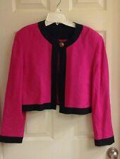 pink & black,  bolero jacket, long sleeve, button, shoulder pads, women's size 4