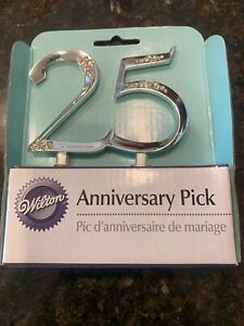 NEW Wilton Silver 25th Anniversary Party Pick Cake Cupcake Topper Decorating 25