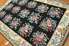 6' x 9' Hand woven French Needlepoint Aubusson wool Area rug flat pile 6x9 Black