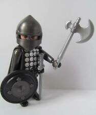 Playmobil Castle figure: Black knight with cape, axe, sword & shield NEW
