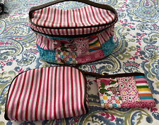 Three Toilet Cosmetic Zippered Bags Pouches Preowned Pink Multi
