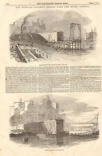 1848 ANTIQUE PRINT- THE TUBULAR RAILWAY BRIDGE OVER THE RIVER CONWAY, 2 PRINTS