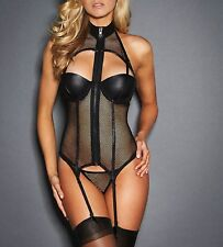 Latex Look and See Through Fishnet Corset Style Top with Suspenders Thong