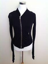 Rick Owens Lilies Black Long Sleeve Asymmetrical Zip Up Sweater Jacket Women's S