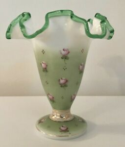 Vintage Mint Green Trumpet Vase w/Pink Roses Floral Flowers & Gold Decor Gift